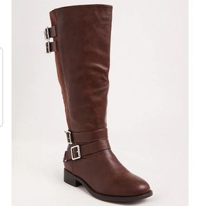 Cognac faux leather tall boot. Wide width